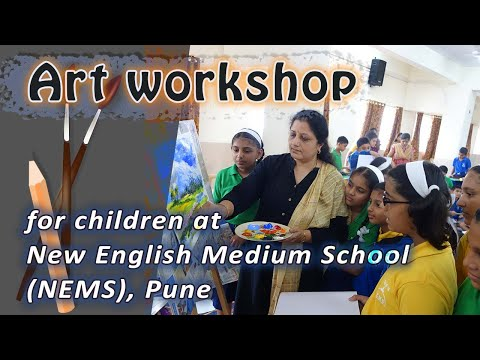 Painting demonstration and workshop at New English Medium School (NEMS), Pune