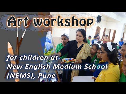 Painting demonstration and art workshop for children at New English Medium School (NEMS), Pune