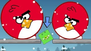 Angry Birds Kick Out Green Pigs - ONE SMALL SQUARE PIG GOT SQUASHED BY TWO HUGE BIRDS!