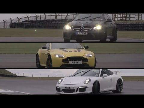 Porsche GT3, Aston Martin V12 Vantage S, Mercedes C63 AMG Black Series - /CHRIS HARRIS ON CARS