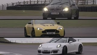 Porsche GT3, Aston Martin V12 Vantage S, Mercedes C63 AMG Black Series - /CHRIS HARRIS ON CARS