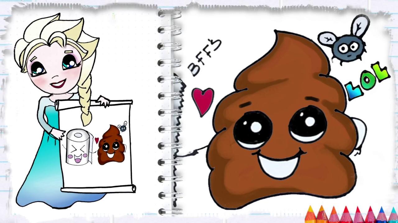 cartoon draw poop emoji cute funny toilet easy