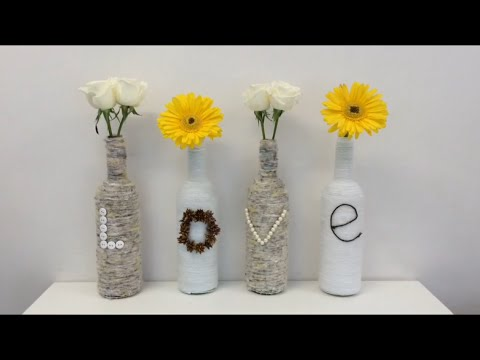 Diy recycled glass bottles home room or office decor - Decoraciones recicladas para el hogar ...