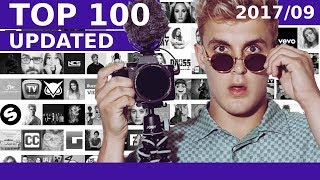 Baixar TOP 100 Most SUBSCRIBED YouTube Channels (September, 2017) Jake Paul, LuisFonsiVEVO, Jesse