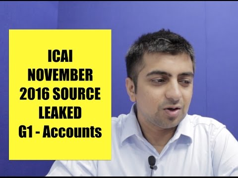 ICAI Nov 16 Source Leaked I G1 Accountancy I Secret Source Revealed I Must Watch