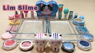 Lim Slime | Adopt Cat Blue Cross vs Pink Mixing Makeup Eyeshadow into Slime | Satisfying Video #13