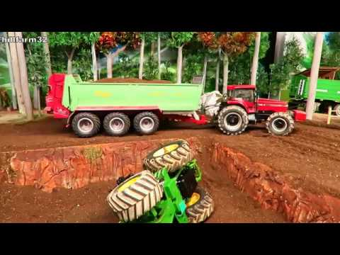 Rc Tractor Accident & Recovery- John Deere With Farm Machinery In Big Trouble