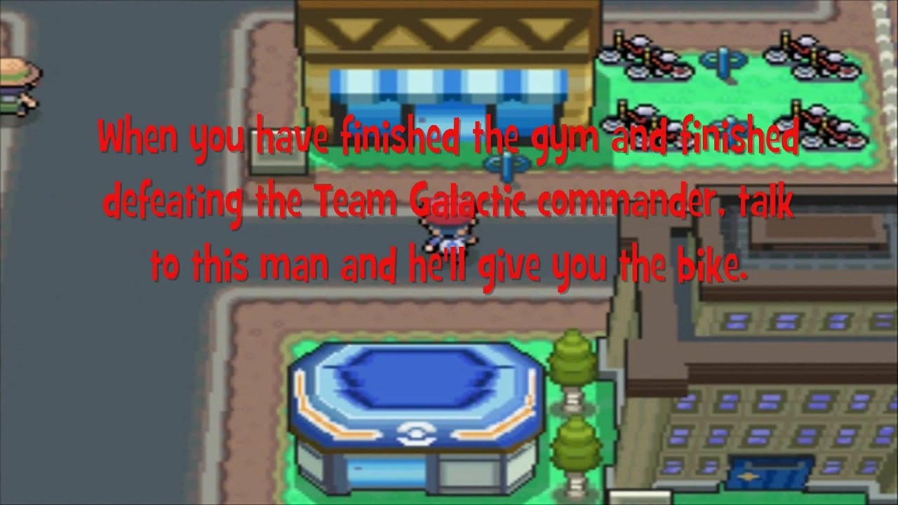 where to get a bike in pokemon platinum eterna city youtube