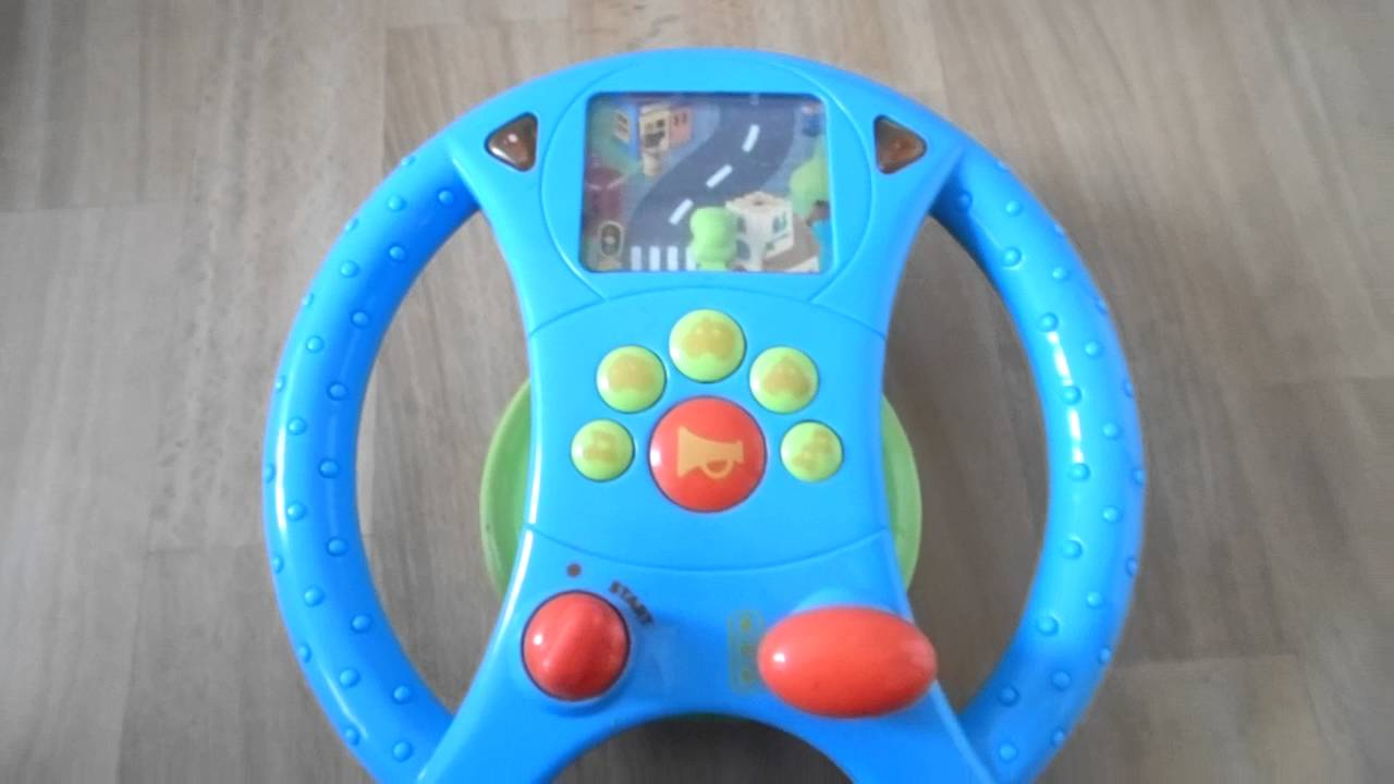 Little Learners Red Steering Wheel sound effects flashing lights drive car toy