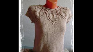 Топик спицами с кокеткой из листьев  free summer knitting patterns Вязание с LusiTen! Топик с листья
