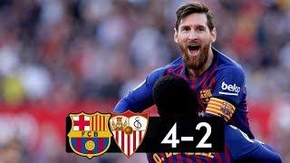 Sevilla vs barcelona 2−4 4-2 hat trick leo messi barcelona, vs, se...