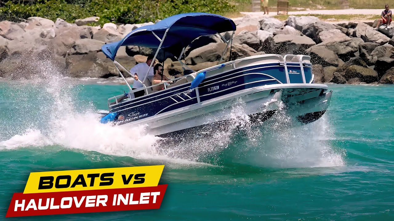 PONTOON ATTEMPTS TO GO OUT HAULOVER INLET !! | Boats vs Haulover Inlet