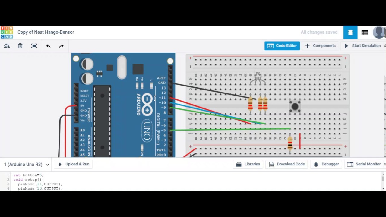 Lighting An Rgb Led With A Push Button On Tinkercad