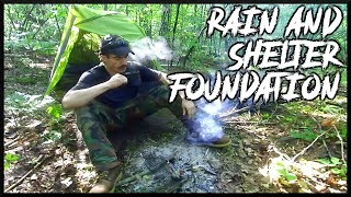 Rainy Camping And Shelter Building Expedition: Thunderstorm, Heavy Rain,  Foundation