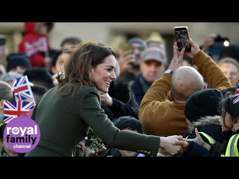 Duke and Duchess of Cambridge Greeted by Crowds Outside Bradford City Hall