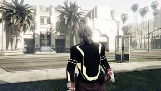 GTA5 Modded Outfit Red Joggers + Tron + Cop Belt Character Male Patch 1.45