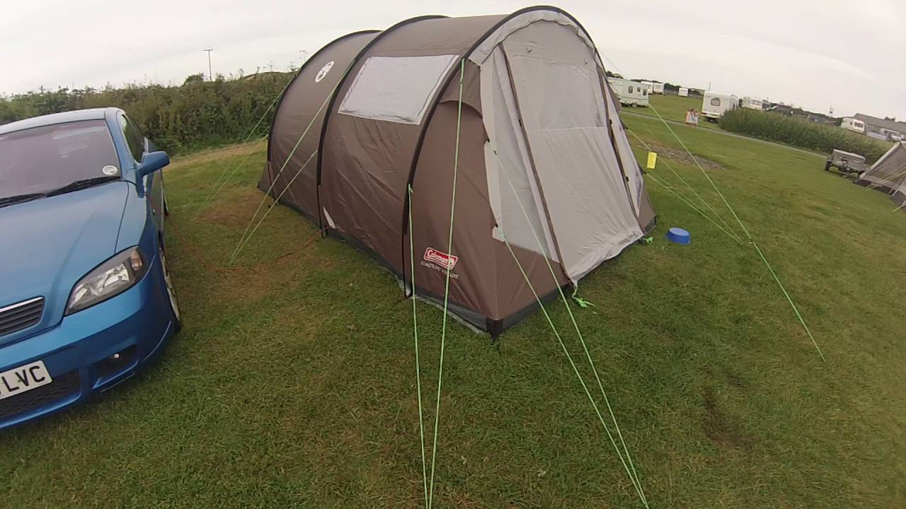 & Coleman coastline 4 deluxe tent setup holly island 25/8/16 - YouTube