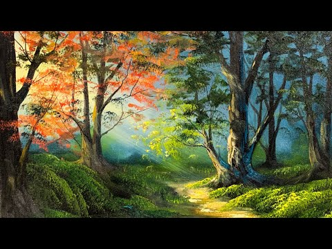 Free Lesson | How To Paint A Vibrant Sunlit Forest | Paintings By Justin