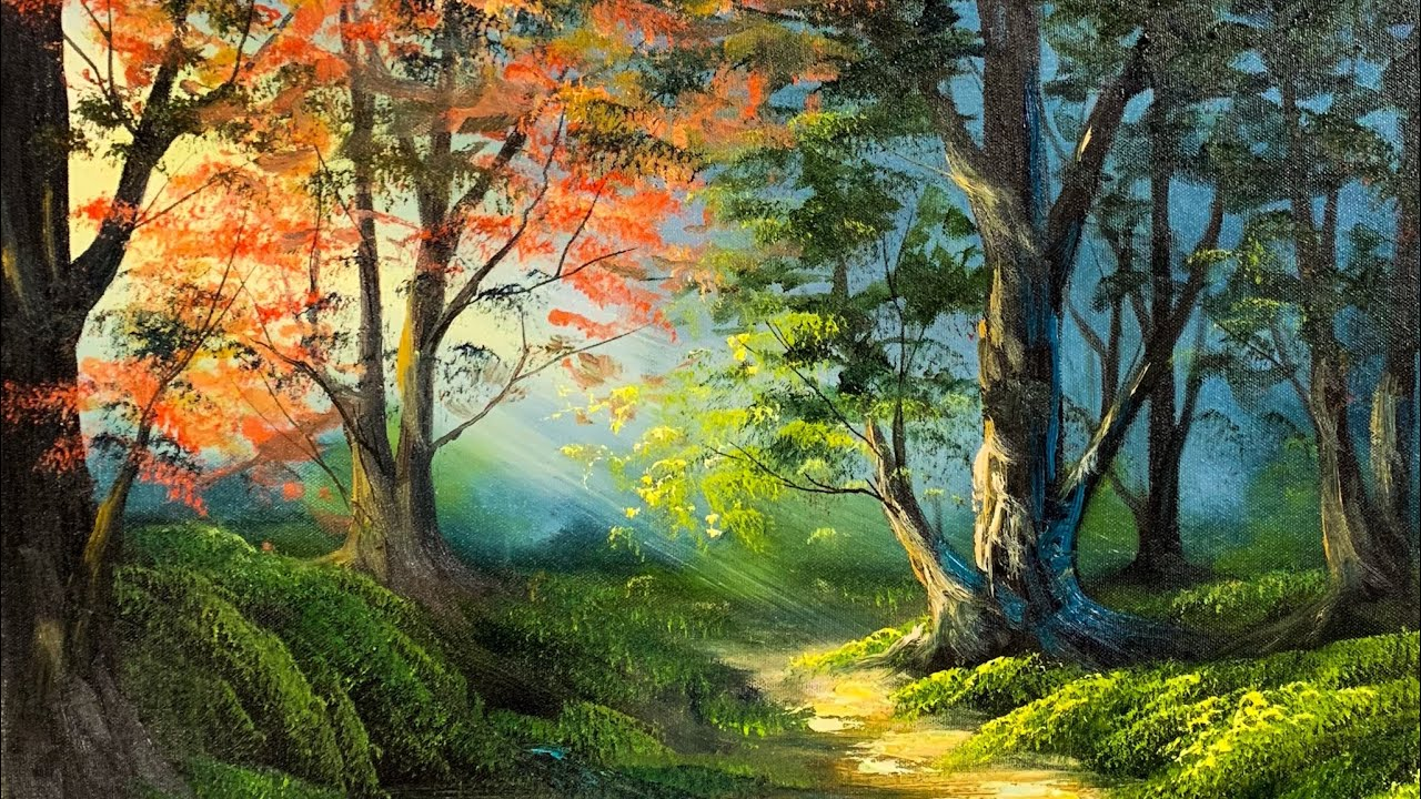 Free Lesson | How To Paint A Vibrant Sunlit Forest ...