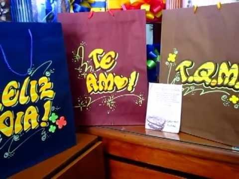 Bolsa de regalo con letras cheveres youtube - Bolsas para decorar ...