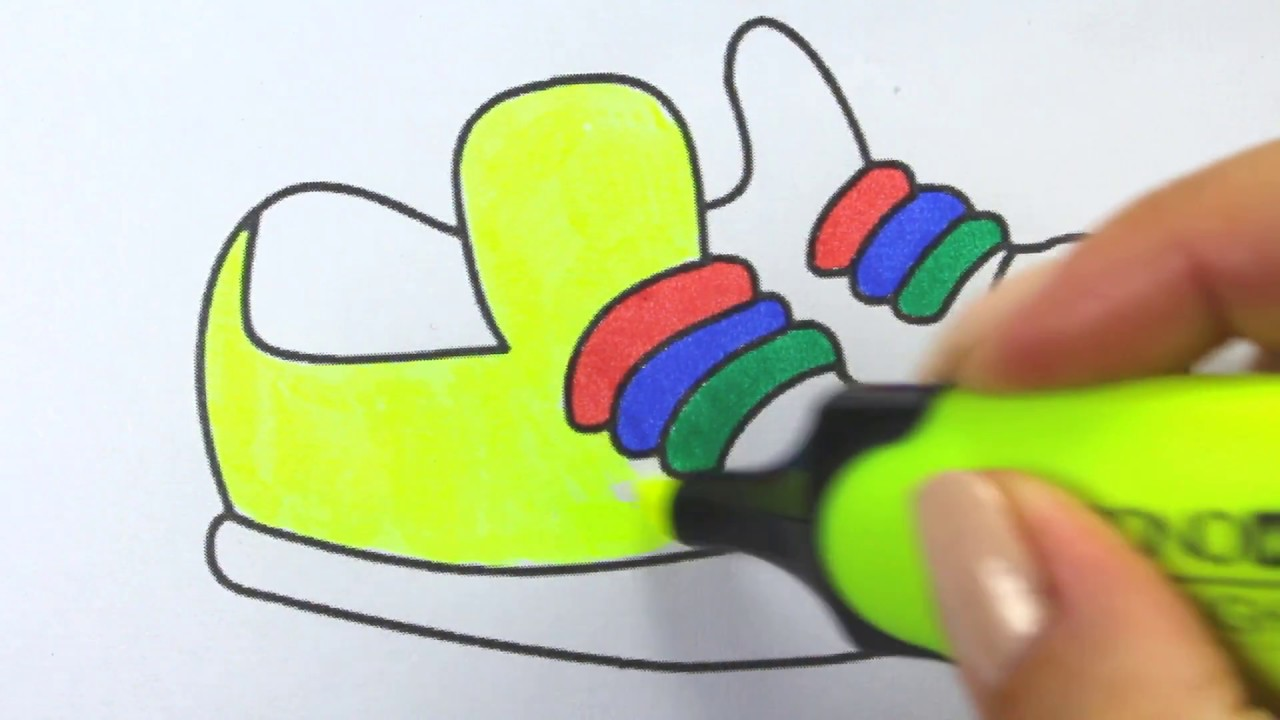 how to draw shoe coloring pages kids songs learn drawing art