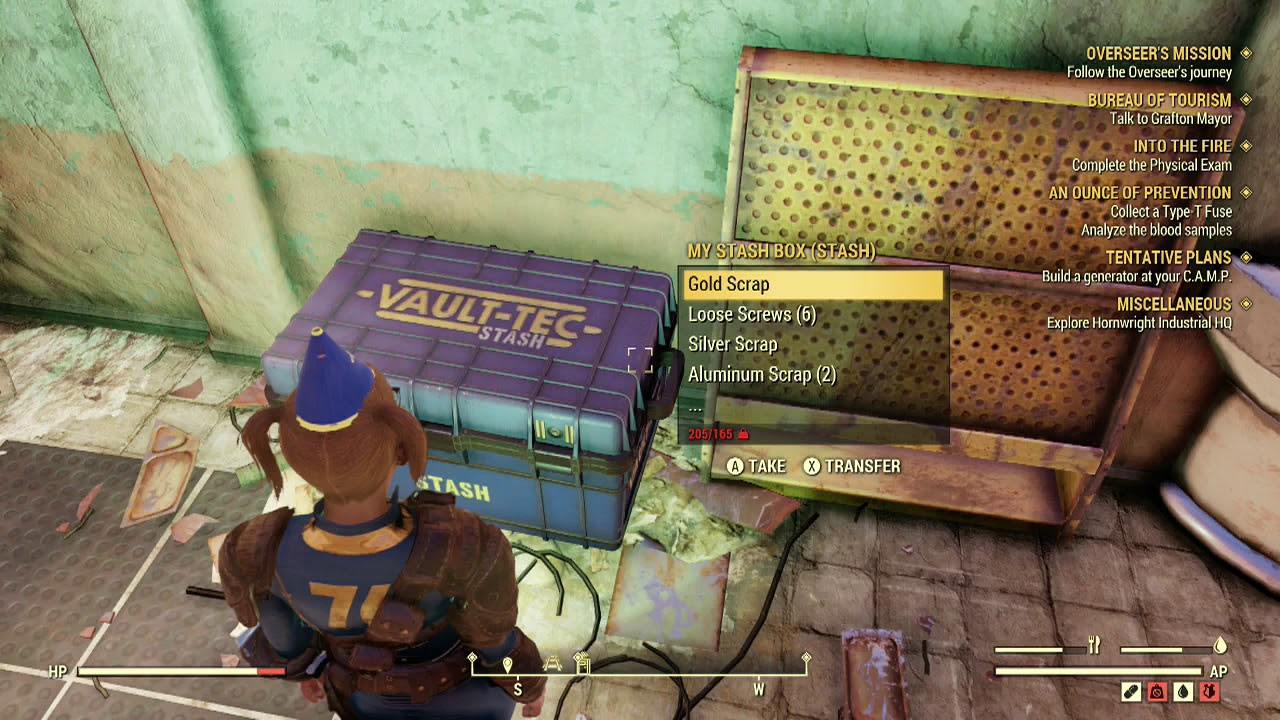 Fallout 76 Get Items from Stashbox Nearby Sell Accumulate Caps