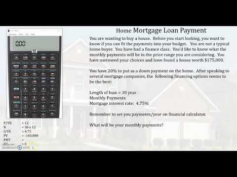 Home Mortgage Loan Payment using HP10bii+