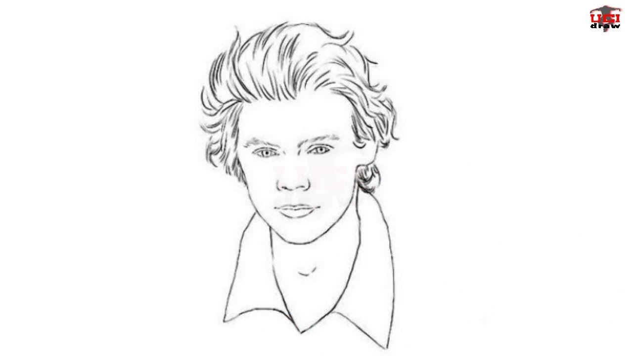 How to Draw Harry Style Step by Step Easy for Beginners/Kids \u2013 Simple Harry  Drawing Tutorial