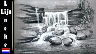 Wonderlijk WATERVAL voor beginners Houtskool potlood tekening by Drawing with CD-03
