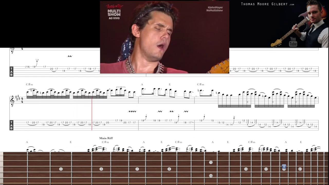 John Mayer - Slow Dancing Outro Solo TAB (Rock in Rio 2013) - YouTube