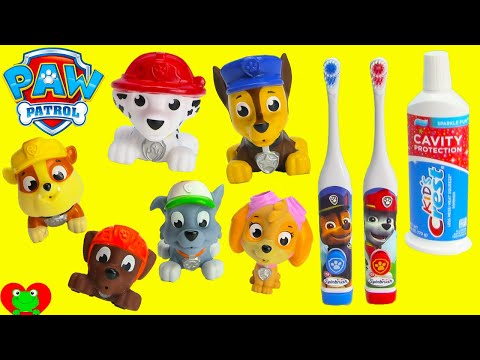 Paw Patrol Brushing Teeth with Chase and Marshall Toothbrushes