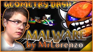 "ДИКОЕ НУБСТВО И БОМБЁЖКА В ИНСЕЙН (МЕДИУМ) ДЕМОНЕ   ""Malware"" by MrLorenzo /#40/ Geometry Dash 2.1"