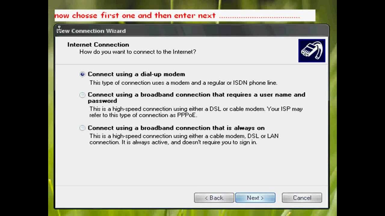 How to connect to internet by using windows 7 built in pppoe wizard - Use Any Mobile Or Usb Modem For Internet Connection Without Installing Their Pc Suite