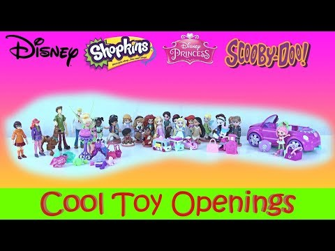 Huge Toy Opening Disney Minnie Mouse Scooby Doo Shopkins Shoppies Shopkins Cutie Cars Tinker Bell