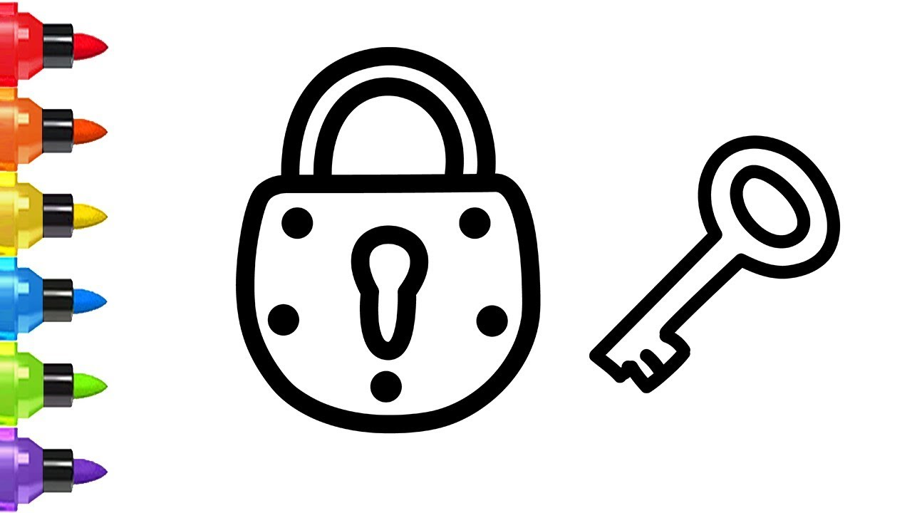 how to draw a lock and key for kids a lock coloring pages for children youtube how to draw a lock and key for kids a lock coloring pages for children