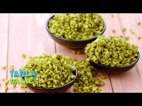 Sprouted and Boiled Moong/ Easy Way How to Sprout and Boil Moong by Tarla Dalal