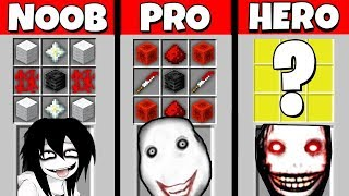 Minecraft Battle: NOOB vs PRO vs HEROBRINE: JEFF THE KILLER CRAFTING CHALLENGE / Animation