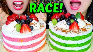 ASMR BIRTHDAY CAKE RACE EATING COMPETITION *MUKBANG CHALLENGE* GREEN TEA + STRAWBERRY CREAM CAKE 먹방
