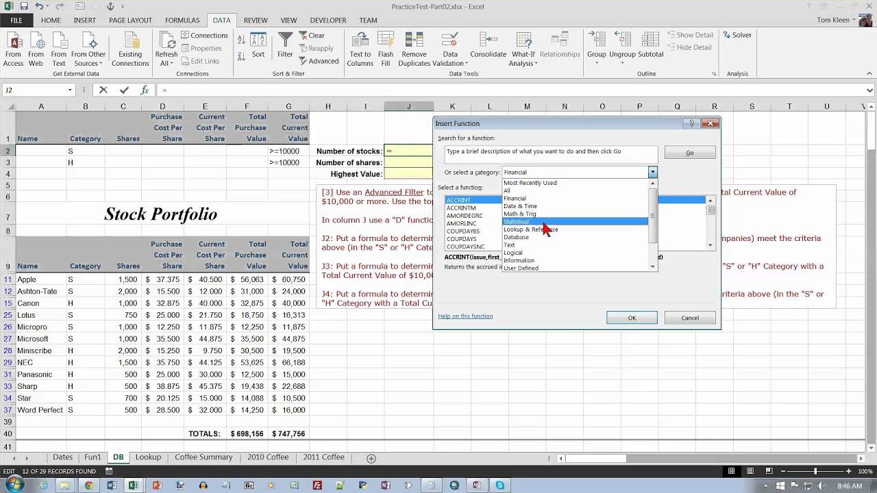 Excel Practice Test For Excel Test 2