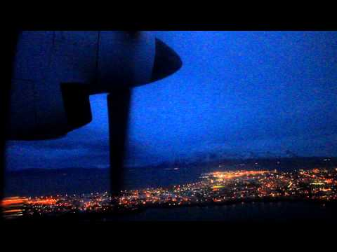 Beautiful night time visual approach into Reykjavik (BIRK)