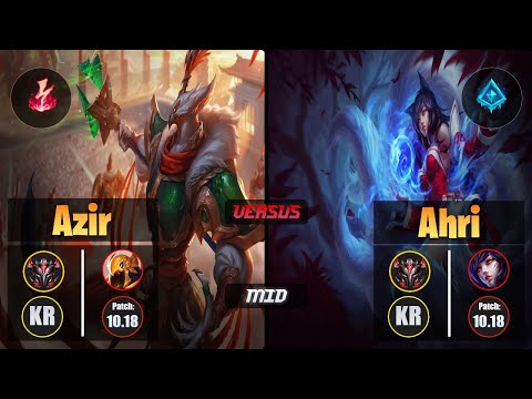 GrandMaster AZIR [Electrocute] (Mid) VS AHRI - Grandmaster KR Patch 10.18