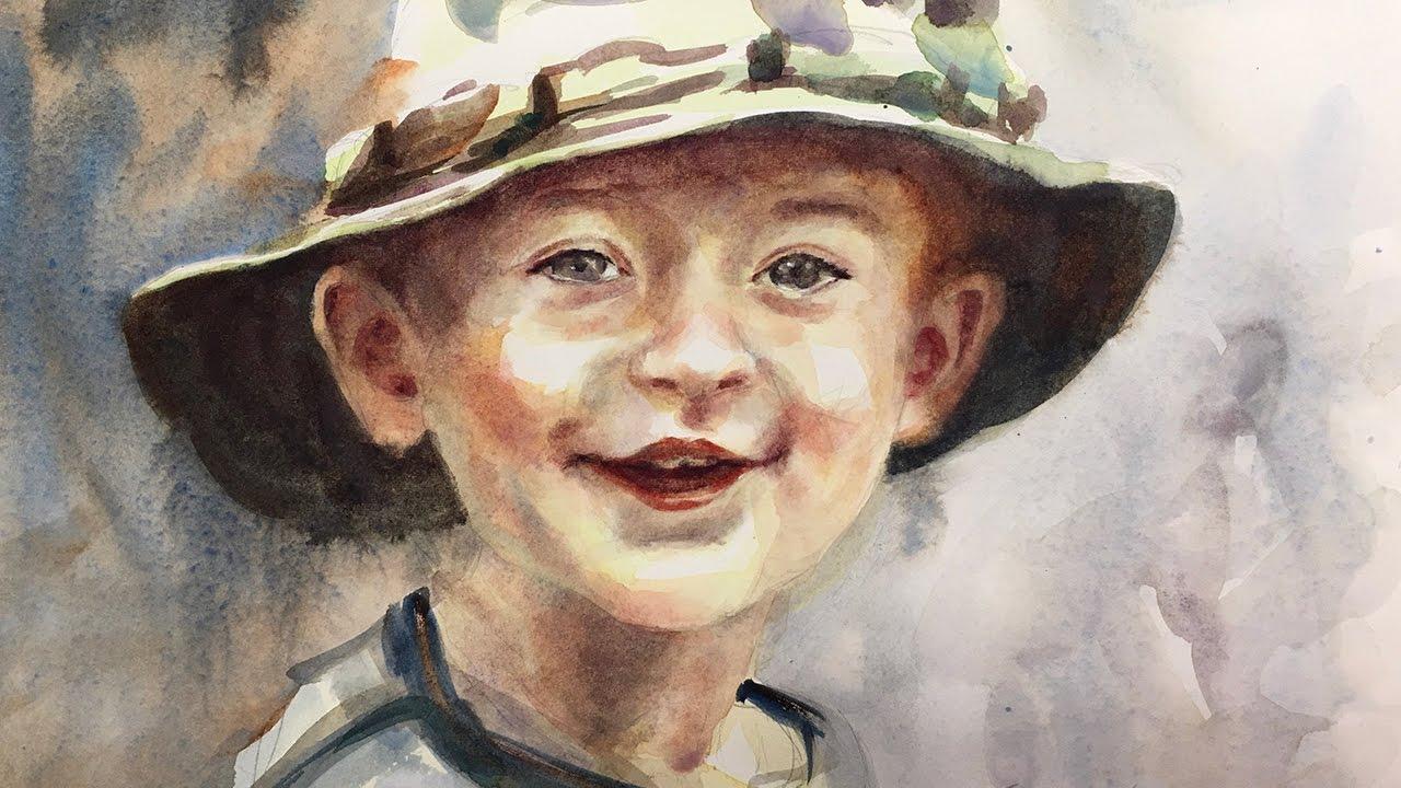 watercolor portrait tutorial boy 4k youtube