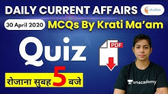 5:00 AM - Current Affairs Quiz 2020 by Krati Ma'am | 30 April 2020 | Current Affairs Today