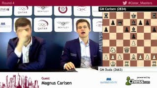 Magnus Carlsen beats Gm Duda, post game analysis at rd4 - Qatar Masters Open 2015