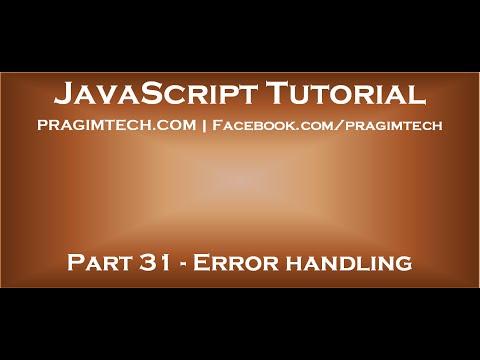 Error handling in JavaScript
