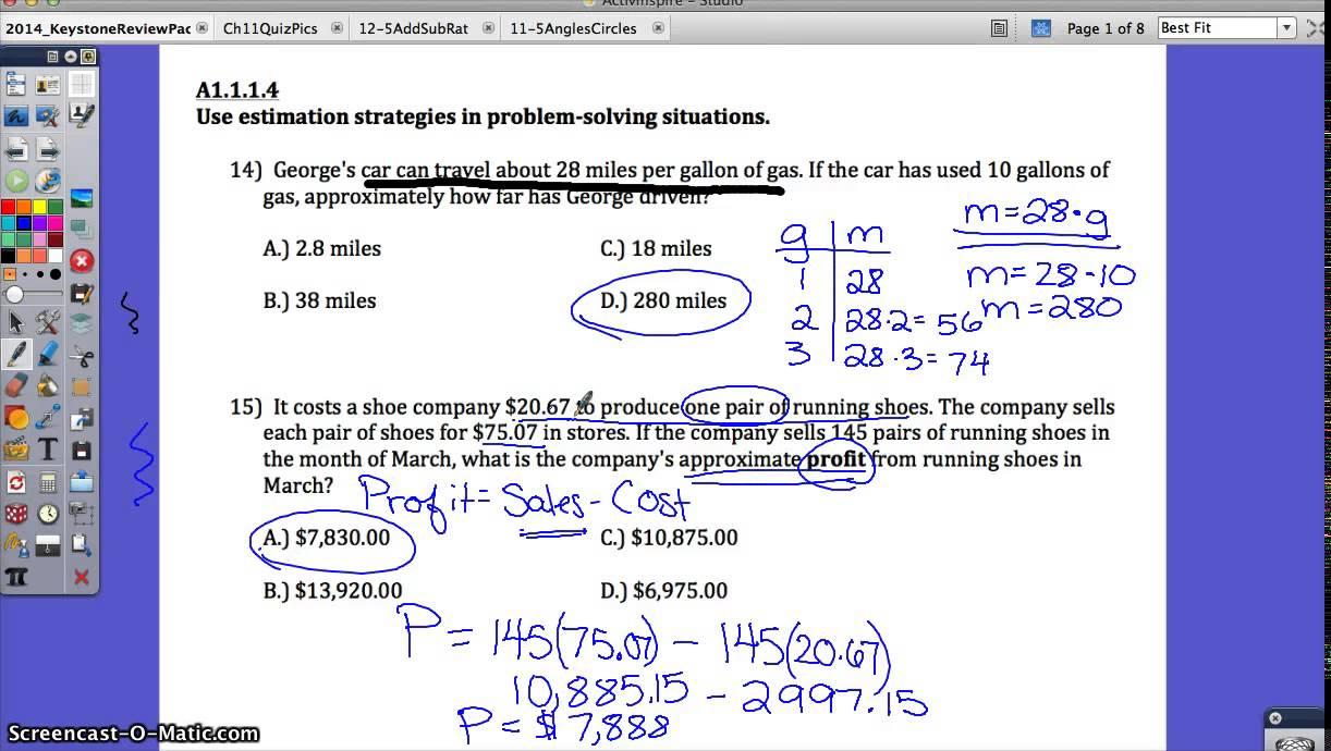 USC Algebra I Keystone Review Packet #14 - 16