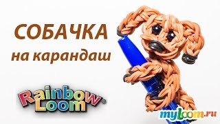 СОБАЧКА на карандаш из резинок Rainbow Loom Bands. Урок 212 | Dog Rainbow Loom