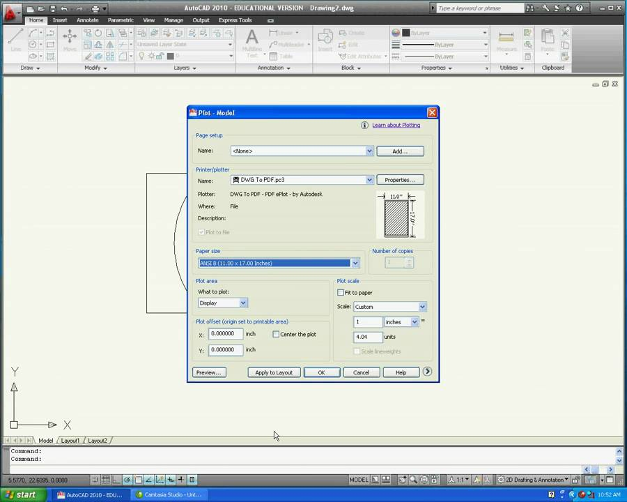 Converting Autocad to PDF mov
