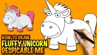 How to draw a Unicorn - Fluffy Unicorn from Despicable Me - Easy step-by-step drawing tutorial