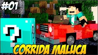 Minecraft -  #1 Corrida MALUCA Ft LUCKY BLOCK AZUL!!